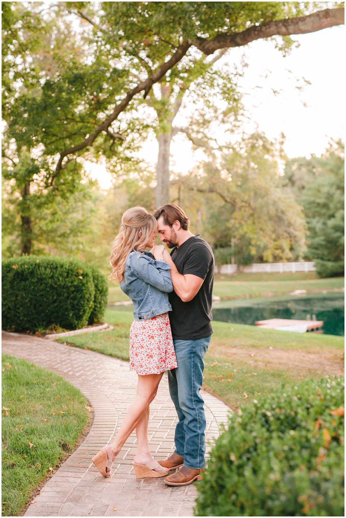 A romantic, natural engagement session with a champagne picnic in St Louis Missouri
