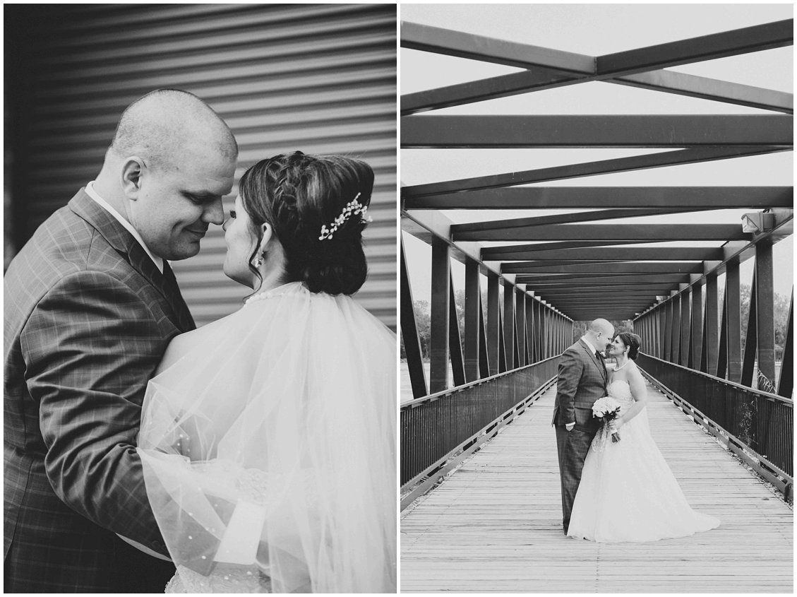Industrial & urban bride and groom portrait in historic, St Charles Missouri by Pattengale Photography