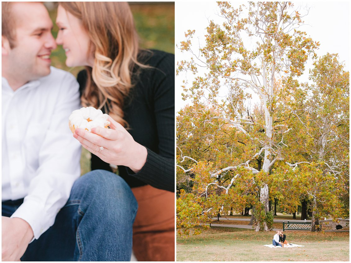 A donuts and puppies fall engagement session in Tower Grove Park, St Louis, by Pattengale Photography