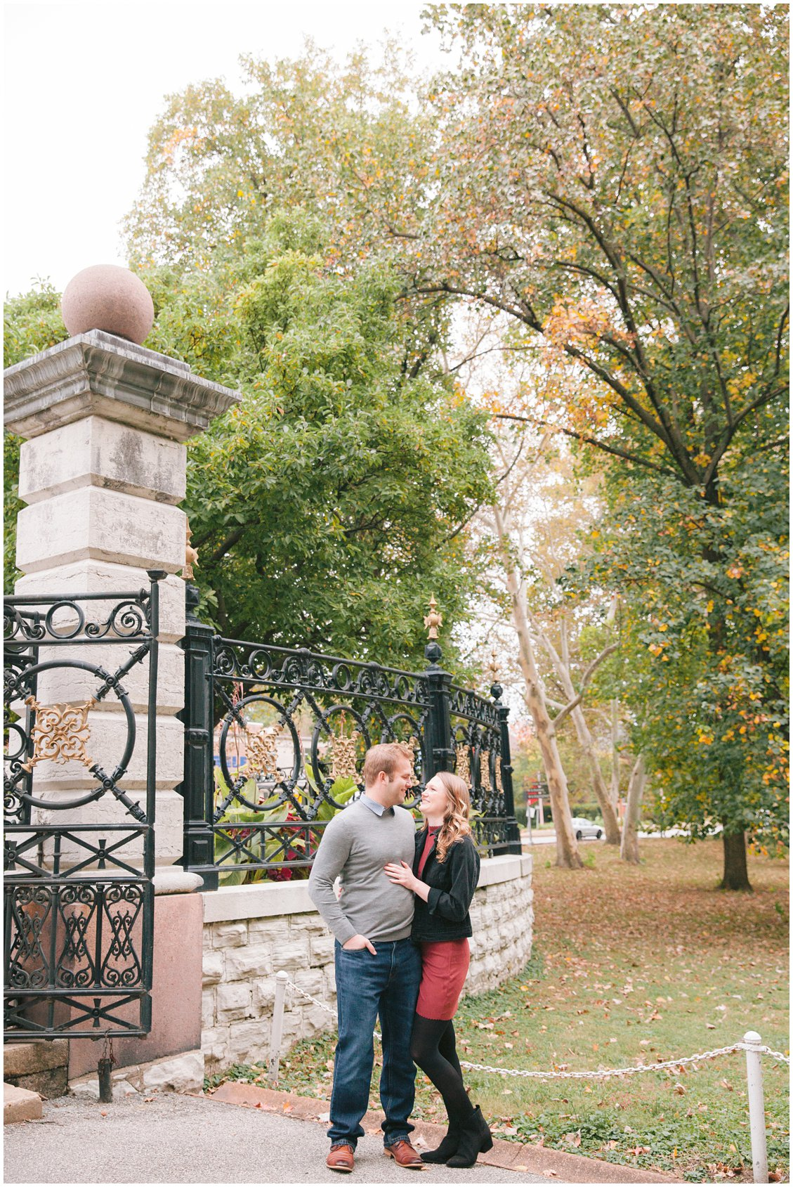 Gold, oval engagement ring & fall engagement photography session in Tower Grove Park, St Louis