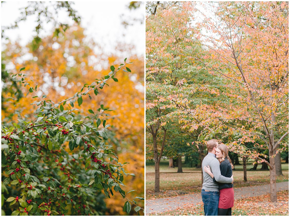 Romantic, chic fall engagement session at Tower Grove Park captured by Pattengale Photography