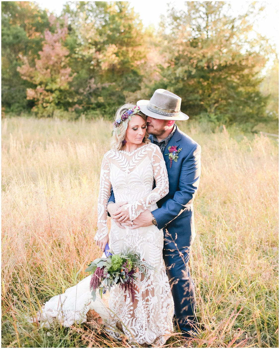 Bohemian outdoor fall wedding at Cedar Creek in southern Missouri captured by St Louis husband and wife team Pattengale Photography Tara & Stephen