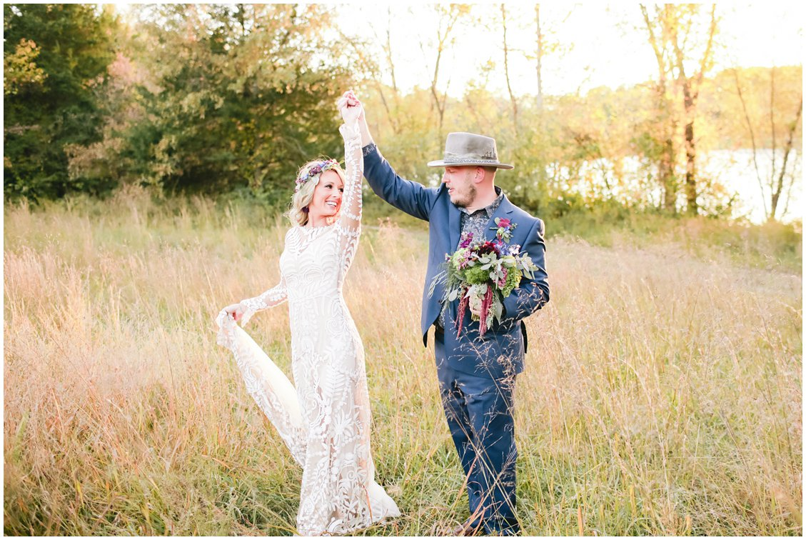 Bohemian fall wedding at Cedar Creek in South Haven, Missouri by St Louis husband and Wife Photography team Pattengale Photography