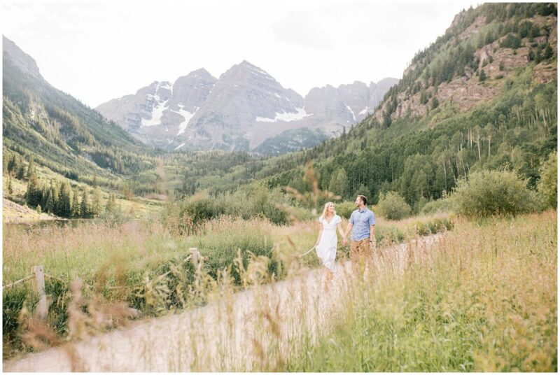 An Adventurous destination couples session at the Maroon Bells state park in Aspen Colorado by St Louis Based husband and wife team Pattengale Photography