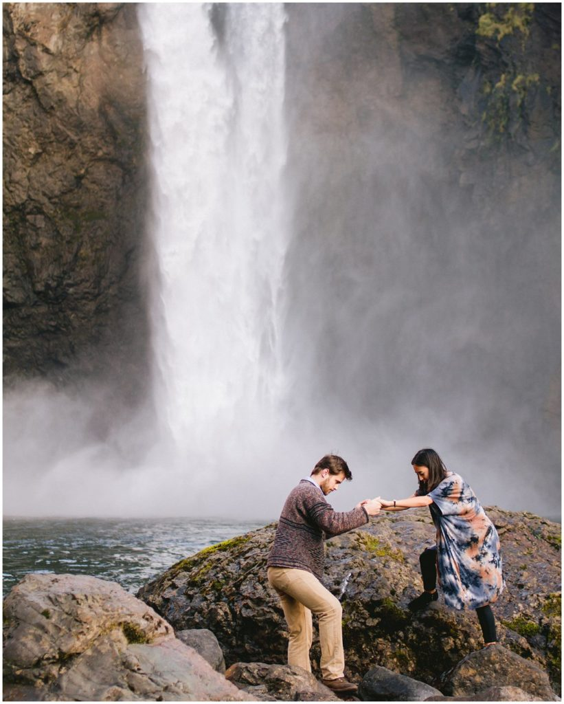 A casual adventurous waterfall couples engagement session at Snoqualmie Falls in Seattle Washington captured by Pattengale Photography