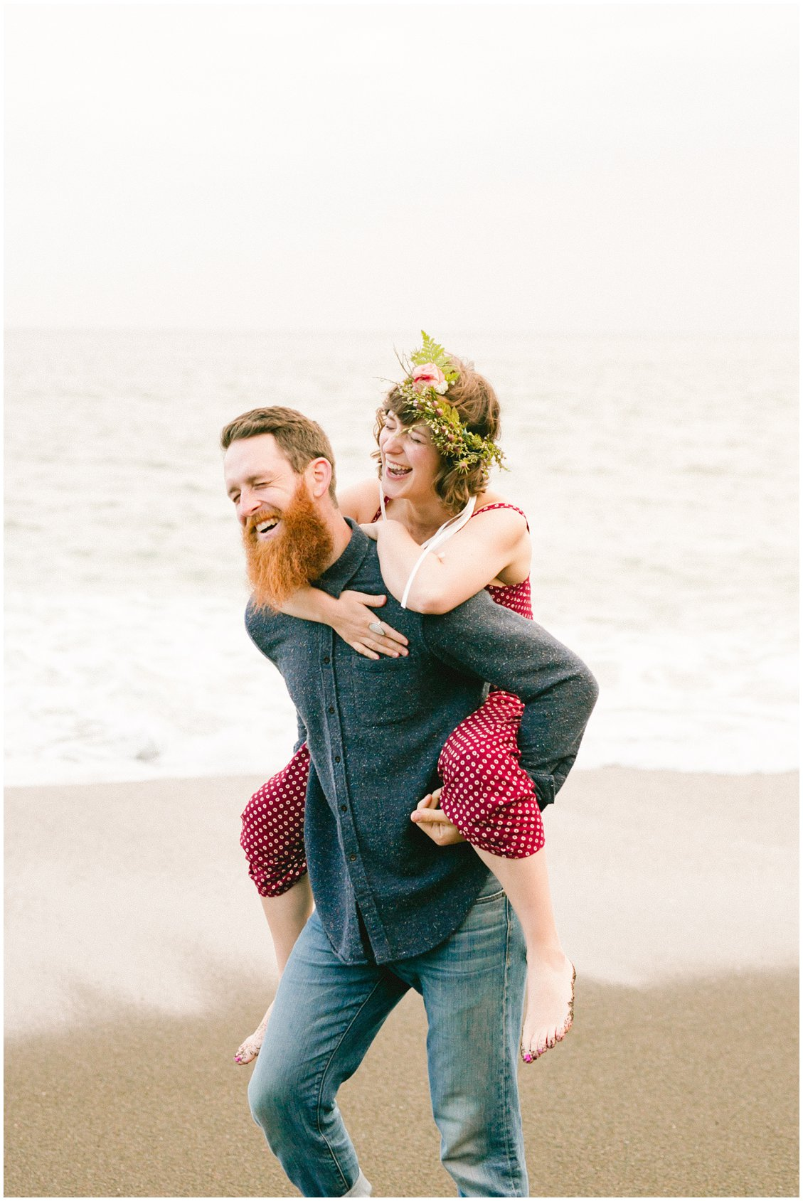 A San Francisco Bay Adventurous couples anniversary photography session at Black Sands Beach in Northern California by Pattengale Photography