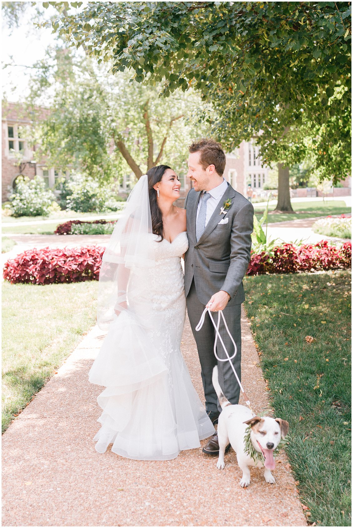 Dog floral collar at an elegant summertime wedding at The Boocat Club and Graham Chapel on WashU Campus in St Louis Missouri by Pattengale Photography