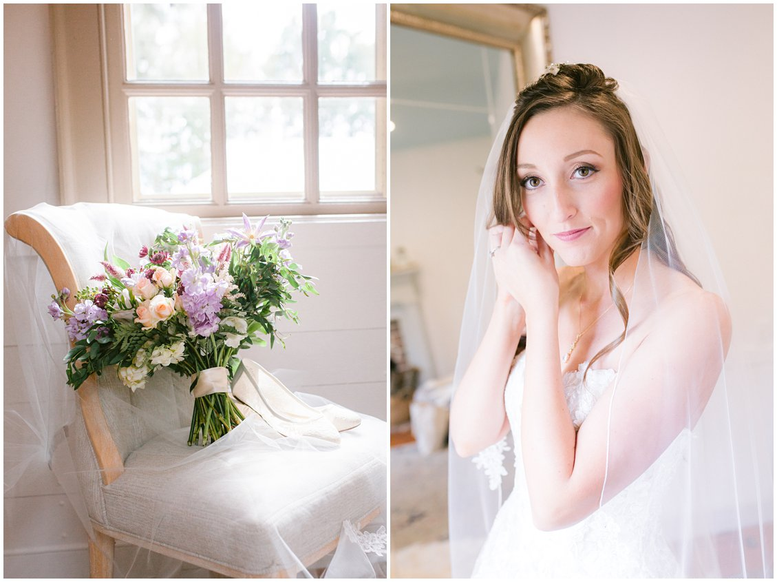 Chic bride getting ready with soft florals at Seven Springs Farm & Manor Richmond VA