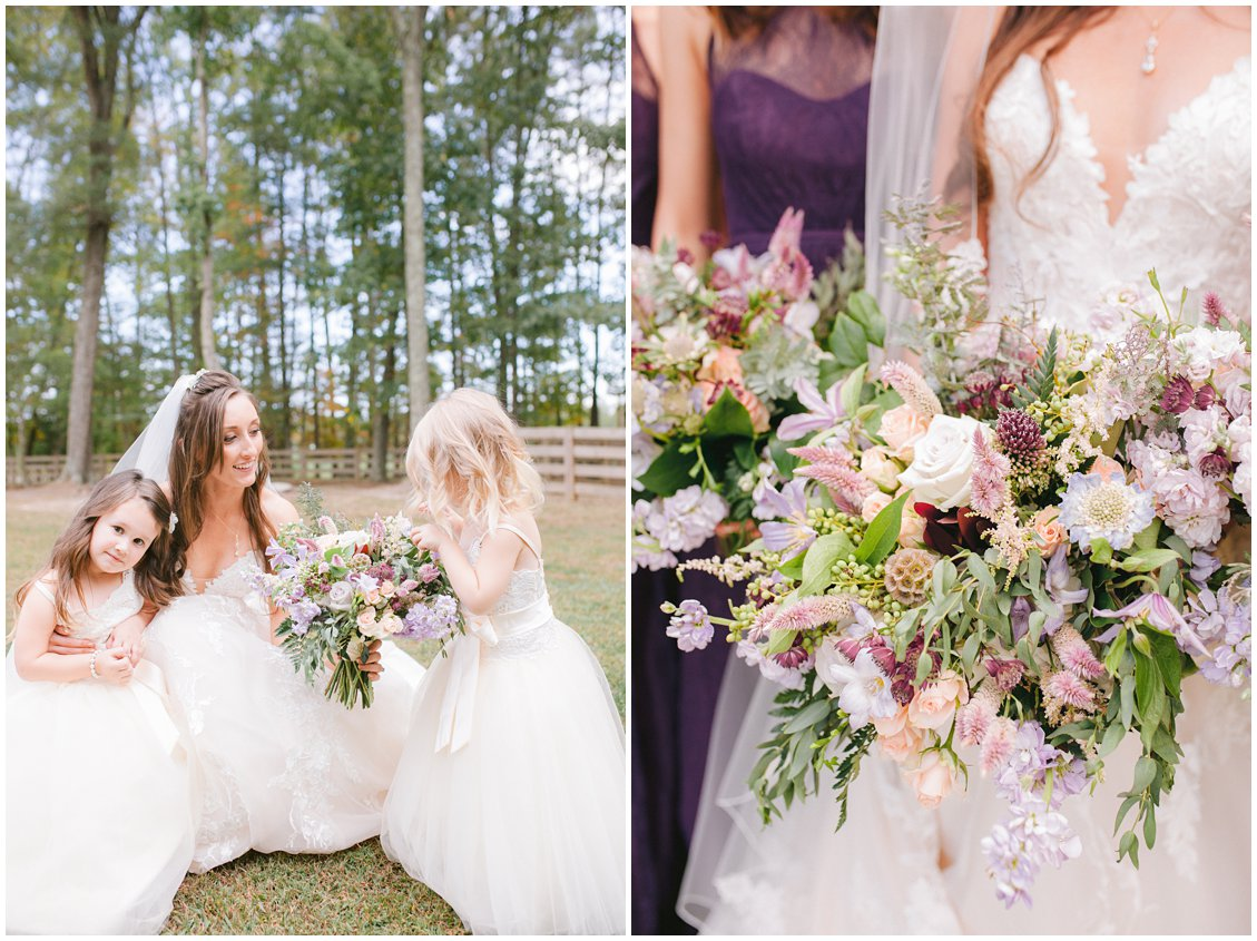 Intimate outdoor wedding with plum & natural florals at Seven Springs Farm & Manor Richmond VA captured by Tara & Stephen of Pattengale Photography