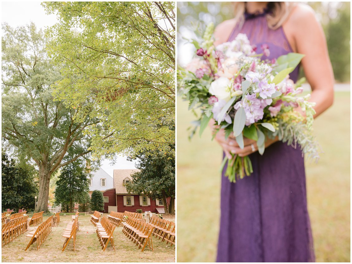 Plum bridesmaid and soft natural florals for an intimate wedding at Seven Springs Farm & Manor RVA by Pattengale