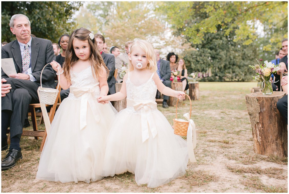 Flower girls at outdoor wedding at Seven Springs Farm & Manor Richmond VA captured by Tara & Stephen of Pattengale Photography