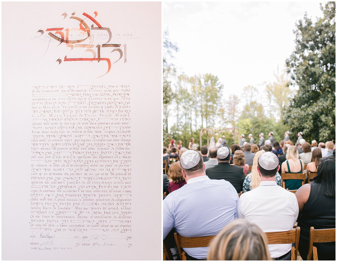 Jewish Ketubah at an intimate outdoor wedding at Seven Springs Farm & Manor Richmond Virginia captured by Pattengale Photography