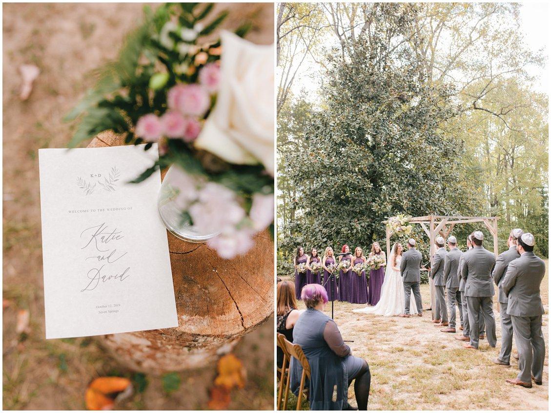 Elegant wedding program at Seven Springs Farm & Manor by Tara & Stephen of Pattengale Photography