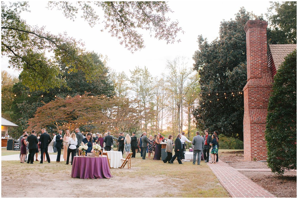 Fall outdoor wedding and cocktail hour at Seven Springs Farm & Manor by Tara & Stephen of Pattengale Photography