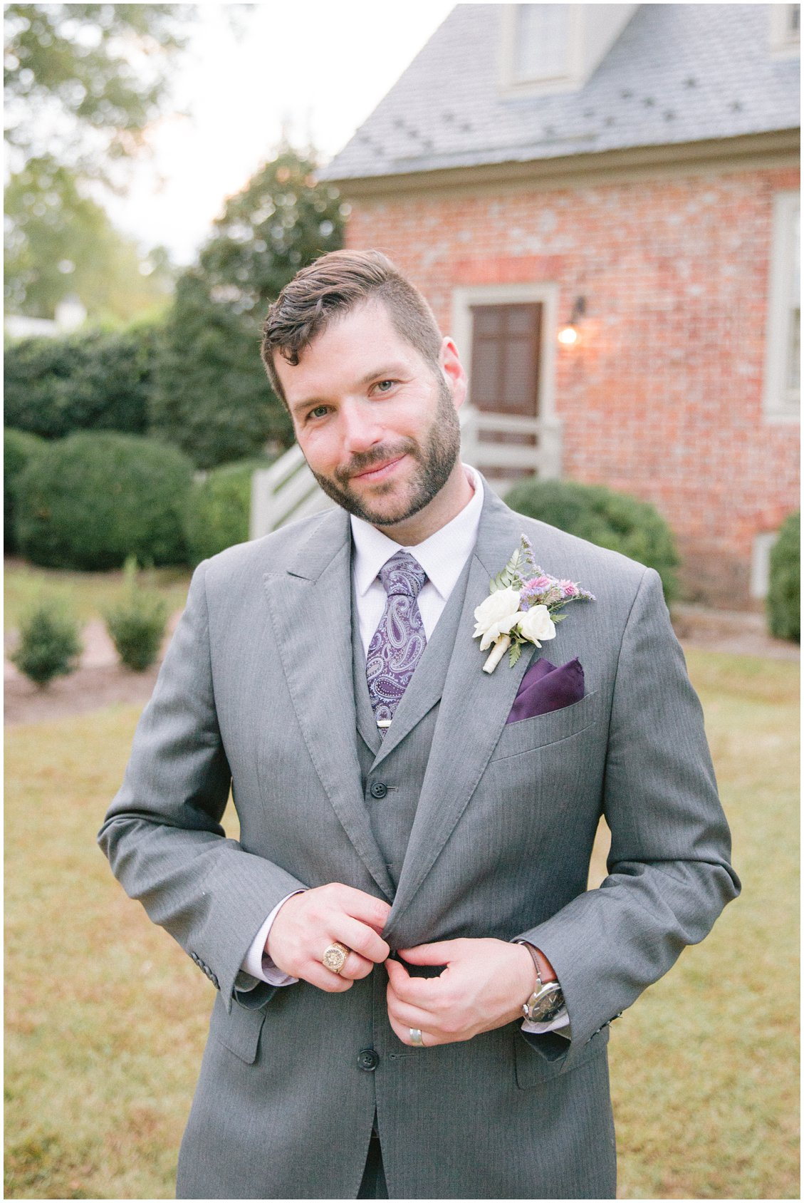Groom attire for a romantic fall outdoor wedding at Seven Springs Farm & Manor captured by Tara & Stephen of Pattengale Photography
