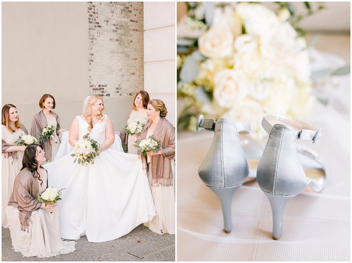 Elegant bridal blue shoes and champagne bridesmaids in Richmond VA by Tara & Stephen