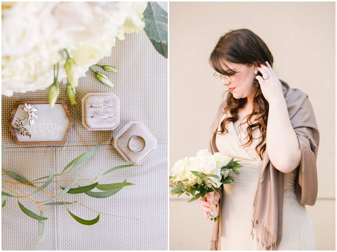 Elegant bride details and champagne bridesmaids in Richmond VA by Tara & Stephen