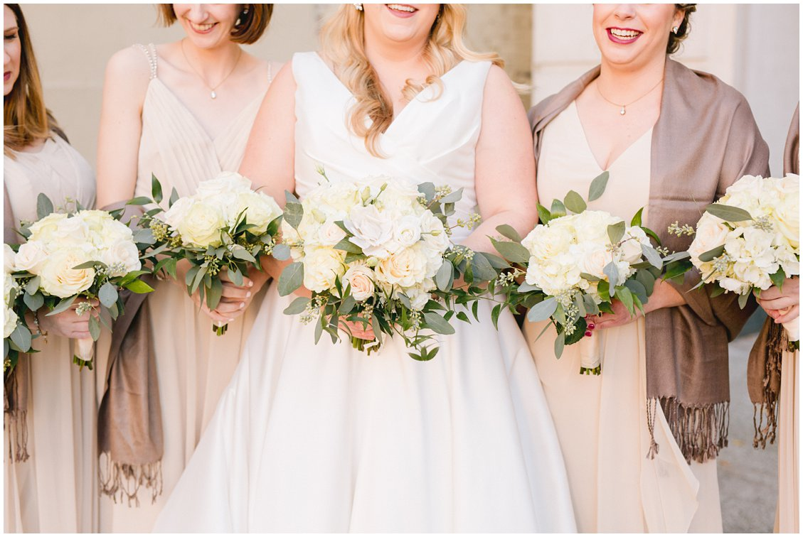 Champagne & neutral bridesmaid dresses and florals in downtown Richmond VA captured by Pattengale Photography - Tara & Stephen
